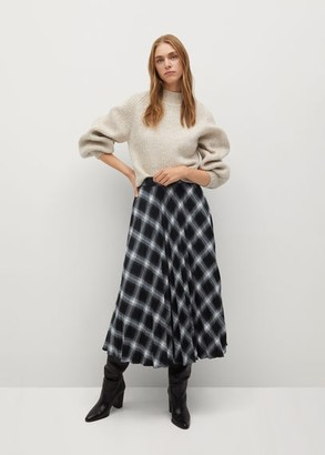 MANGO Checked pleated skirt