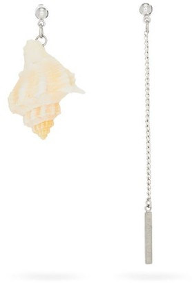 Marine Serre Mismatched Shell And Chain Earrings - Beige
