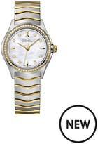 Ebel Wave Mother Of Pearl Dial Diamond Set Bezel Stainless Steel And 9ct Gold Bracelet Ladies Watch