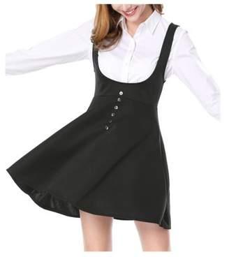 Unique Bargains Women's Button Decor Flared Hem Above Knee Suspender Skirt Dress