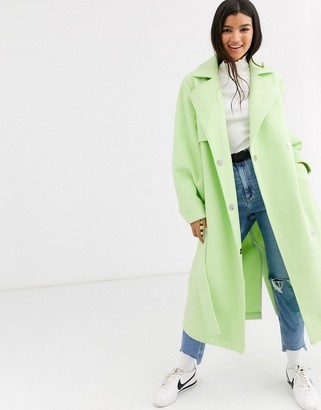 ASOS DESIGN coat with extreme sleeves in mint