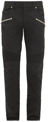 Balmain Ribbed Stretch-denim Slim Jeans - Mens - Black