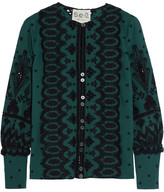 Sea Broderie Anglaise Cotton Blouse - Forest green