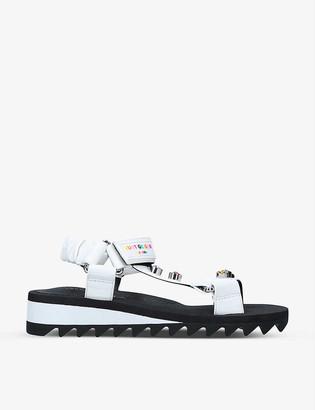 Kurt Geiger Orion embellished faux-leather platform sandals
