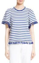 Kate Spade Women's Tassel Stripe Flutter Sleeve Top
