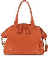Forzieri Orange Woven Leather Bowler Bag