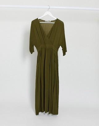Vila wrap detail maxi dress in green