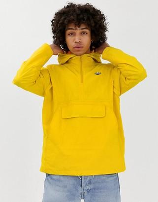 adidas overhead windbreaker jacket in yellow with trefoil logo