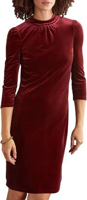 Boden High Neck Velvet Dress
