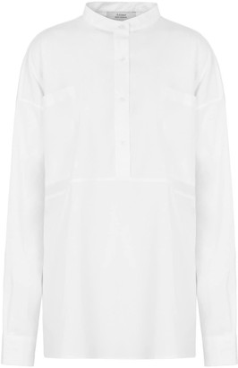 A Line Clothing Mandarin Collar Blouse With Pockets