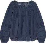 Sea Crochet-paneled cotton-voile top