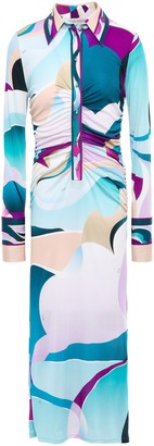 Emilio Pucci Ruched Printed Silk-jersey Midi Dress