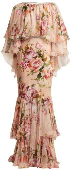 Dolce & Gabbana Floral Print Silk Chiffon Gown - Womens - Pink Print