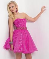 Blush Lingerie Strapless Cocktail Dress with Embellished Waistband 9430