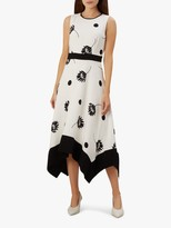 Hobbs Lucie Handkerchief Hem Dress, Ivory/Black