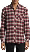 Wesc Olive Plaid Slim-Fit Shirt, Rose