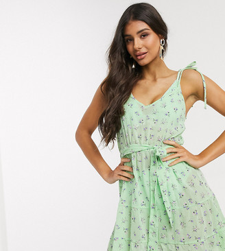 Asos DESIGN tall tie shoulder beach dress in apple green ditsy floral print