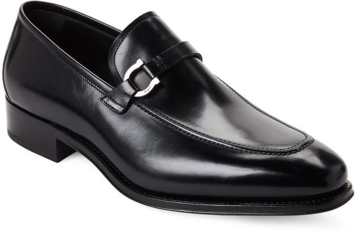 Salvatore Ferragamo Black Domaso Leather Loafers
