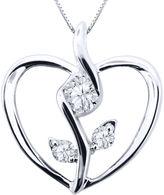 Sirena FINE JEWELRY 1/8 CT. Diamond 10K White Gold Flower Heart Pendant Necklace