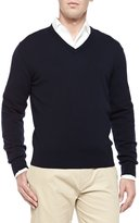 Loro Piana Baby Cashmere V-Neck Sweater, Blue Navy