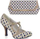 Ruby Shoo UK 7 EU 40 Stone Edie Fabric Mary Jane Pumps & Torino Bag