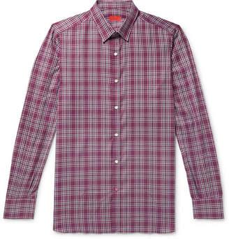Isaia Slim-Fit Checked Cotton-Poplin Shirt