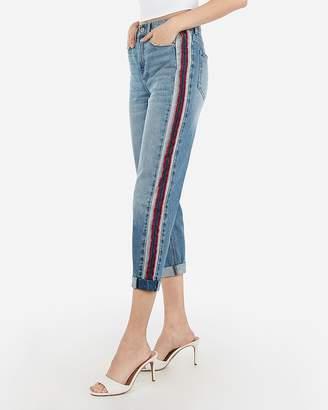 Express High Waisted Side Stripe Original Cotton Girlfriend Jeans
