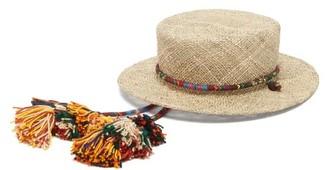 Ruslan Baginskiy Tasselled Straw Boater Hat - Beige