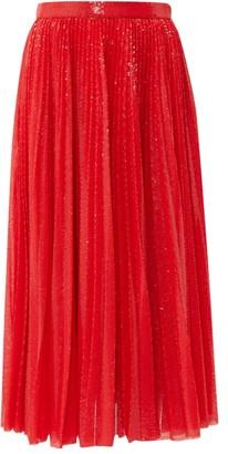 MSGM Sequinned Pleated Midi Skirt - Red