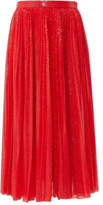 MSGM Sequinned Pleated Midi Skirt - Womens - Red