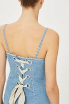Boutique Lace back denim slip dress