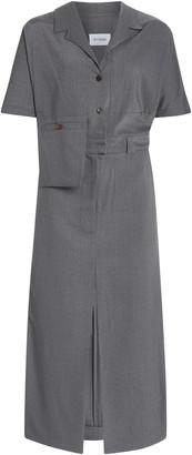 Eftychia Asymmetric Wool-Blend Shirt Dress
