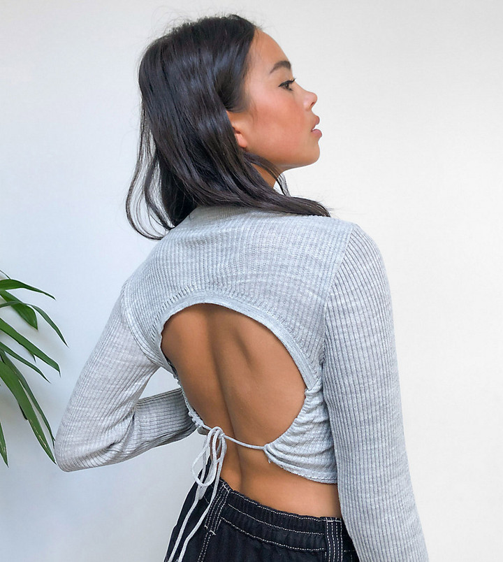 Thumbnail for your product : Collusion knitted top with open back in grey