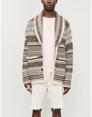 Alanui George geometric-patterned cashmere and linen-blend cardigan