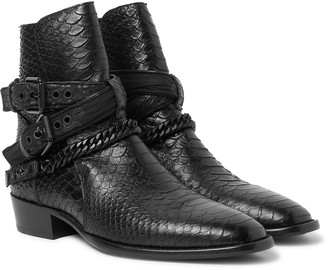 Amiri Embellished Croc-Effect Leather Jodhpur Boots
