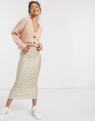 Asos DESIGN plisse column midi skirt in champagne ditsy floral print