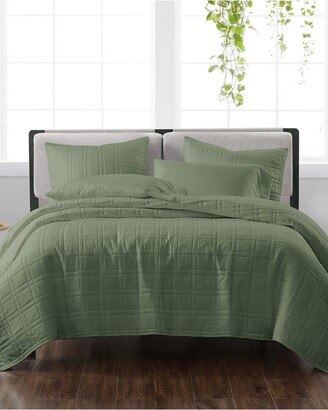 Cannon Solid Green 3Pc Quilt Set