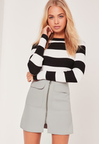 Missguided Zip Front Mini Skirt Grey