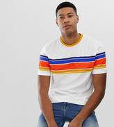 Asos Design DESIGN Tall organic cotton relaxed t-shirt with thick retro stripe and roll sleeve