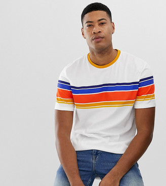 Asos Design DESIGN Tall organic cotton relaxed t-shirt with thick retro stripe and roll sleeve-White