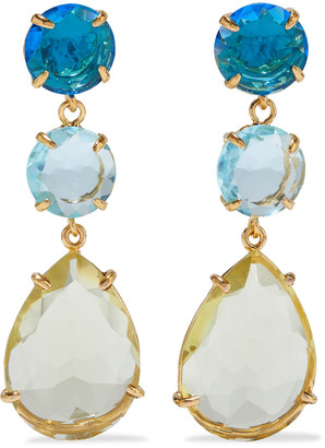 Bounkit Convertible 14-karat Gold-plated Quartz Earrings