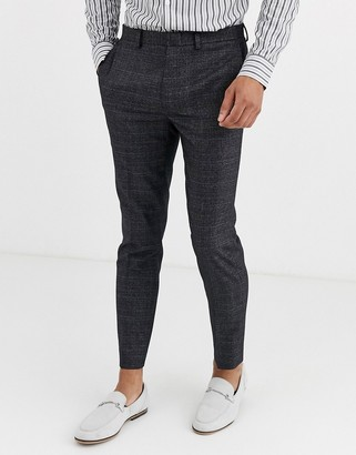 Burton Menswear skinny fit suit trousers in prince of wales check-Grey
