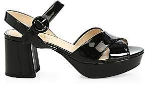 Prada Women's Crisscross Patent Leather Platform Sandals