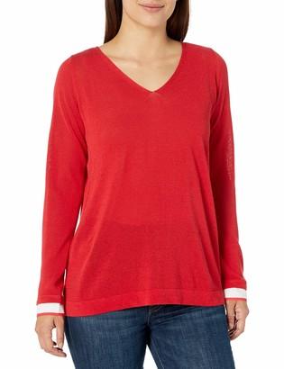 NYDJ Women's Mixed Media V-Neck Sweater with Overlapped Back