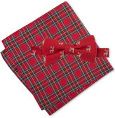 Tommy Hilfiger Men's Deer Print Bow Tie & Royal Stewart Pocket Square Set