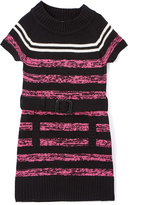 Pink Angel Fuchsia & Black Twist Belted Dress - Infant Toddler & Girls
