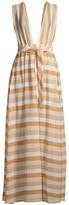 Ramy Brook Roma Stripe Knit Deep V-Neck A-Line Dress