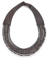 Peserico Mixed Bead & Leather Necklace