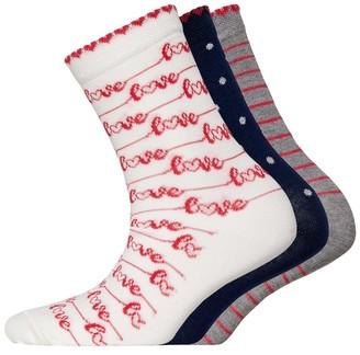 Lovestruck Womens Three Pack Socks AOP Cream