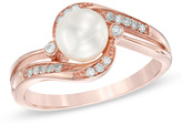 Zales 6.0mm Cultured Freshwater Pearl and 1/10 CT. T.W. Diamond Ring in 10K Rose Gold